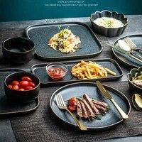 creative ceramic plate sets steak serving dishes dessert breakfast plate sets nordic kitchen vaisselle cuisine tableware df50pz