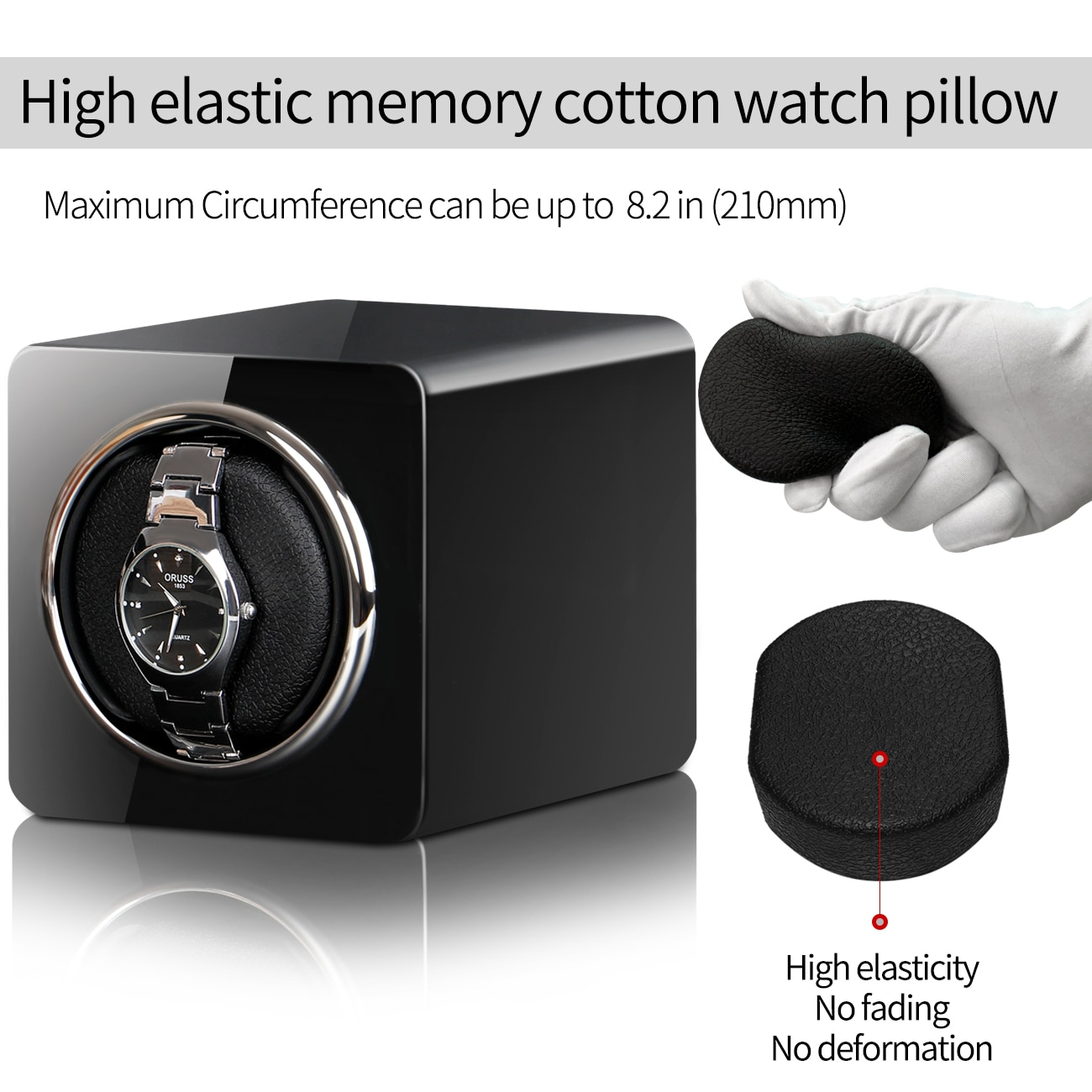 Automatic Watch Winder Box Uhrenbeweger Mechanical Display Single Slot Watch Box With Adapter And Battery Supply enlarge