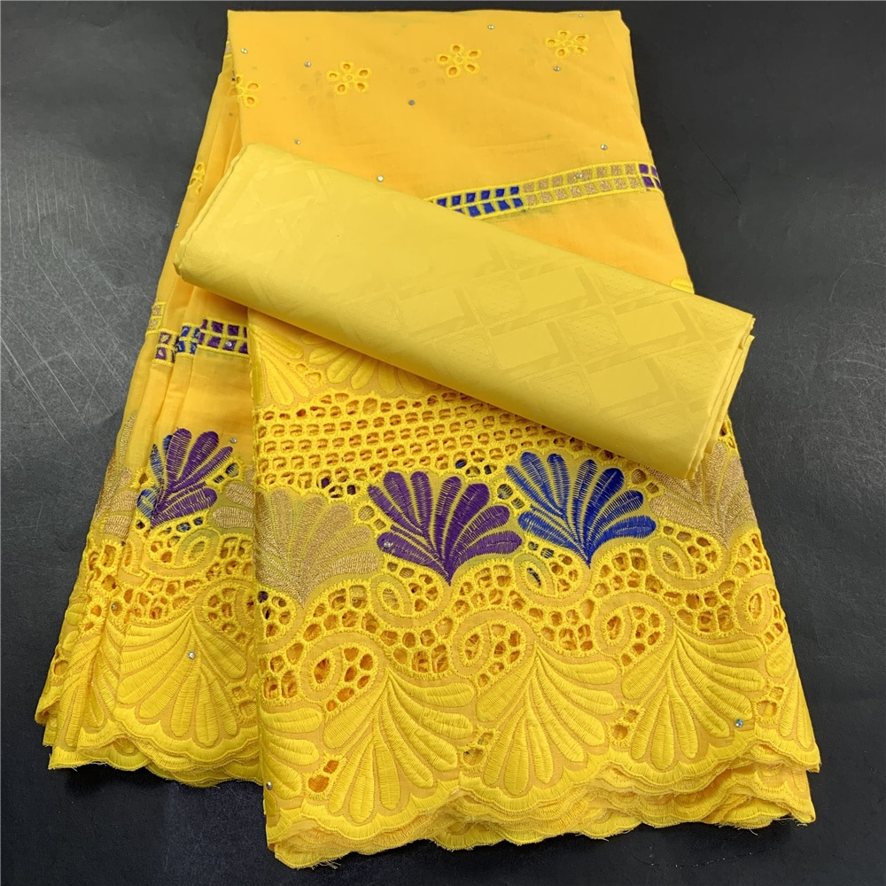 High Quality African Nigerian Tulle Lace Fabric Wedding Party Gown Dress Swiss100% Cotton Fabric Embroidered Damask 5Yards