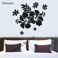 Makeyes     autocollant Mural fleur Hibiscus  beau papier peint en vinyle  decoration douce pour la maison  salon  Q777