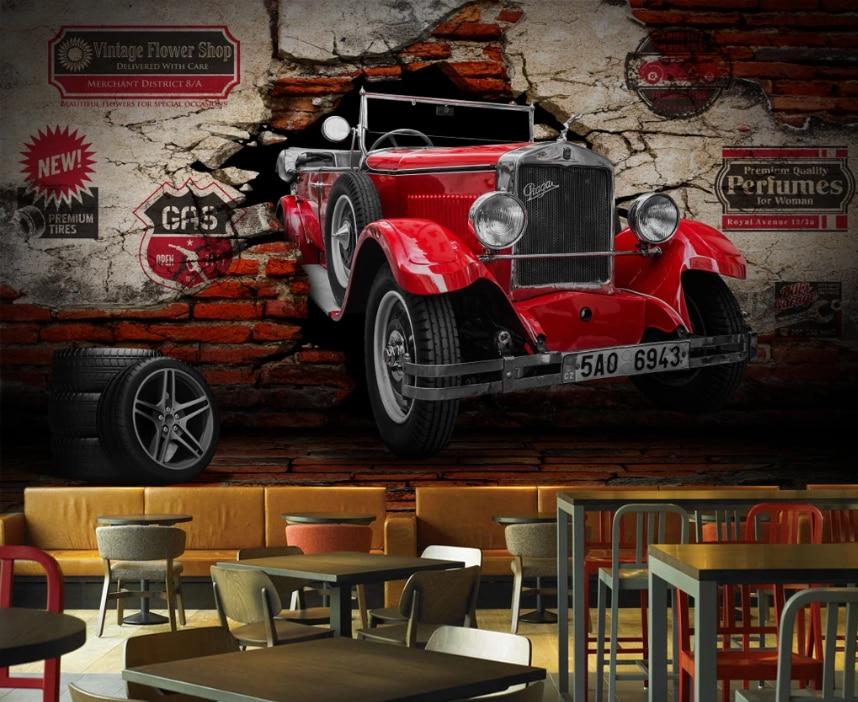 Personalizado 3d estéreo do vintage clássico carro fundo papel de parede mural