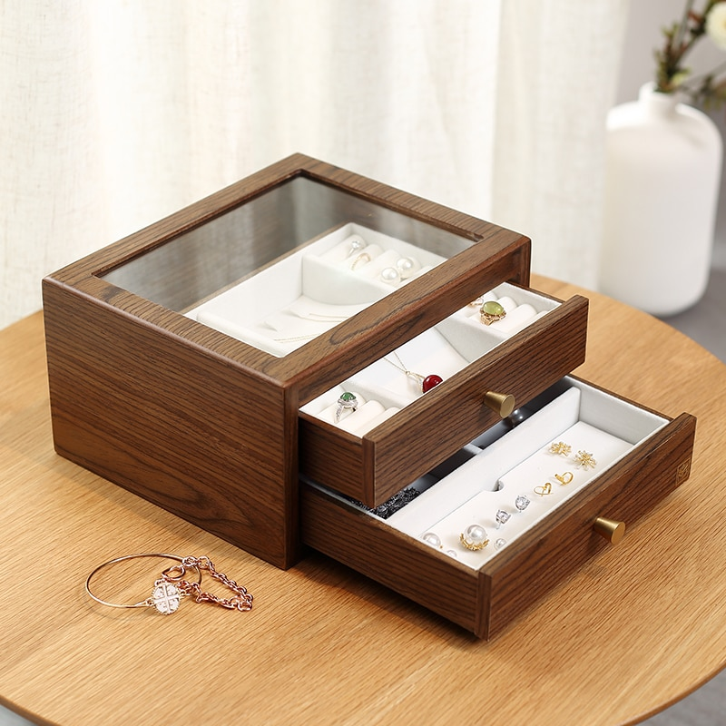 Casegrace Large Glass Display Wooden Jewelry Box Organizer With Drawer Wood Earring Ring Necklace Jewellery Storage Case Casket