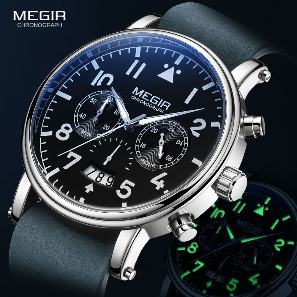 MEGIR Genuine Leather Strap Quartz Watches Men 2021 New Fashion Chronograph Watch for Man Blue Luminous Wristwatch Relojes