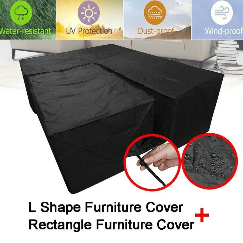 À prova dwaterproof água jardim rattan canto móveis capa sofá ao ar livre proteger l forma kit uv-resistente polietileno capa s m l xl