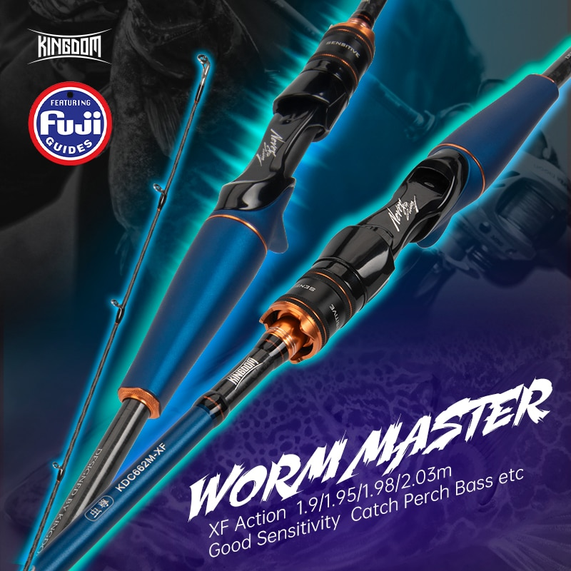 Kingdom WormMaster 1.9/1.95/1.98/2.03m 40T Carbon Casting Spinning Fishing Rods Fuji Guide Baitcasting Travel 3g-28g XF Lure Rod