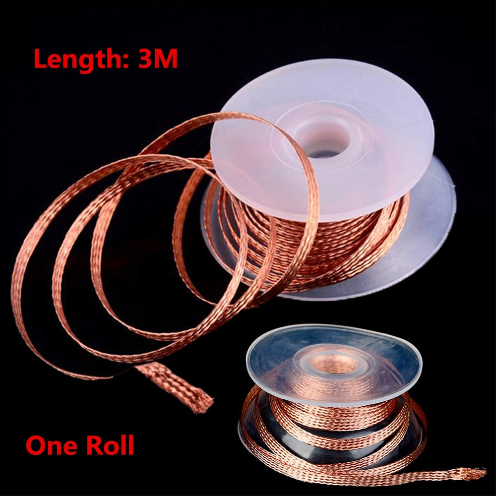 wmore soldering iron wick wire lead free tin 1 5m length 2mm width desoldering braid welding solder remover wick wire cord flux 2mm 2/.25M Length Desoldering Braid Welding Solder Remover Wick Wire Lead Cord Flux  Repair Tool