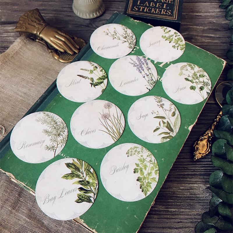 10PCS/bag junk journal Vintage plant illustration round sticker DIY scrapbooking album diary happy plan decoration sticker