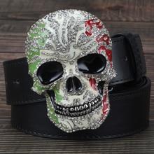 Man Skull Belt with Diamond Punk Style Men Metal Smooth Buckle Skull Head Skulls Pattern Belts Black Brown White