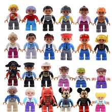 Locking Duplo Friends Figures Boy Girls Blocks Brother Sister Grandparents Police Convict Duploe Lockings Friend Figure Kids Toy