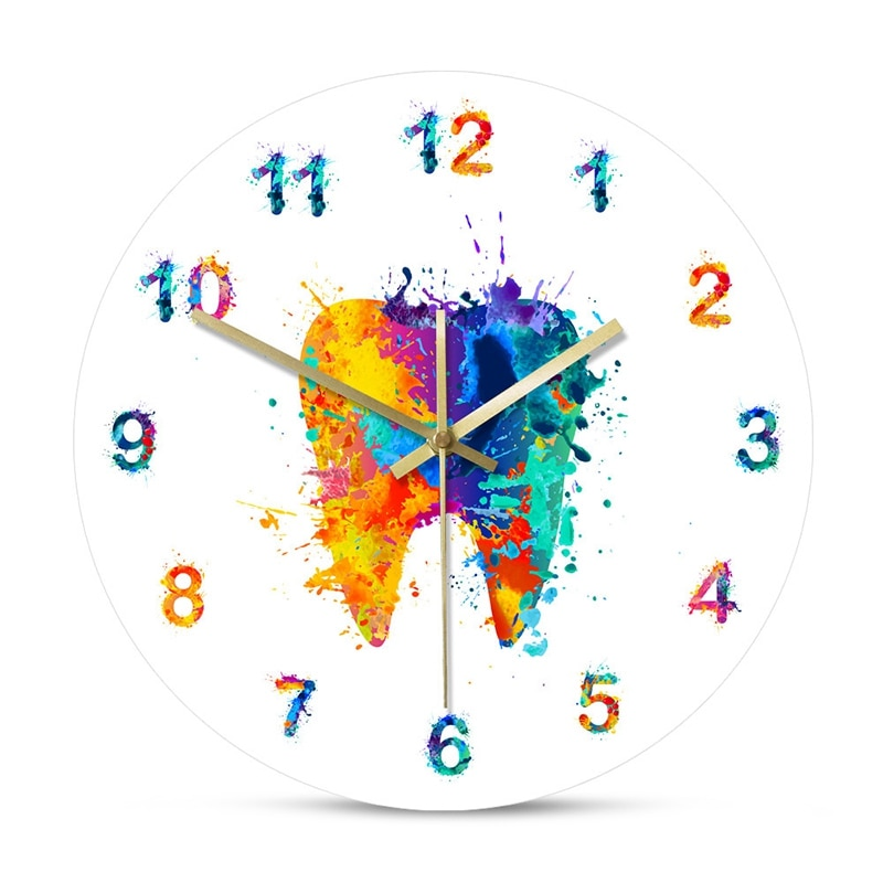Watercolour Tooth Painting Print Wall Clock Clinic Wall Art Non Ticking Wall Watch Orthodontist Dentist