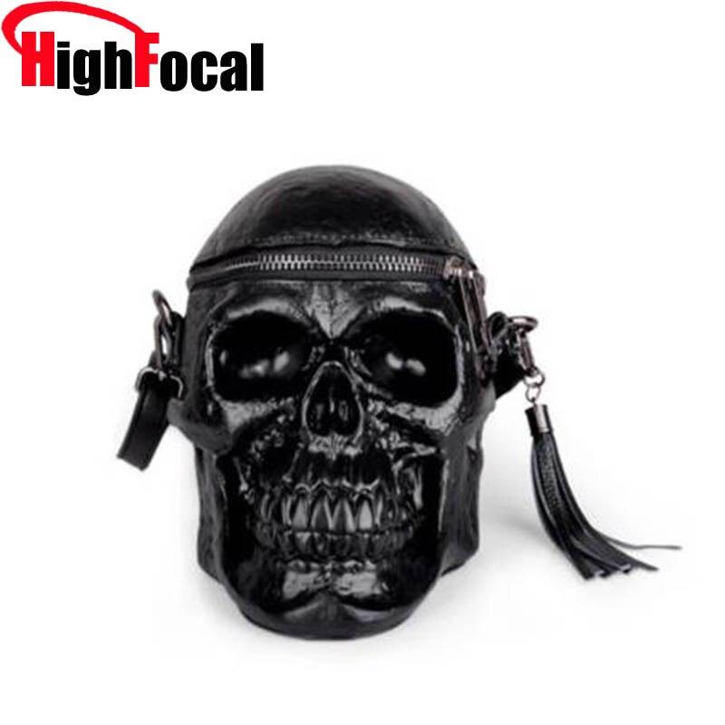 حقيبة يد نسائية بأشكال جمجمة عالية البؤر حقيبة يد سوداء بشكل رأس هيكلي مضحكة حقيبة يد نسائية بتصميم عصري حقيبة واحدة