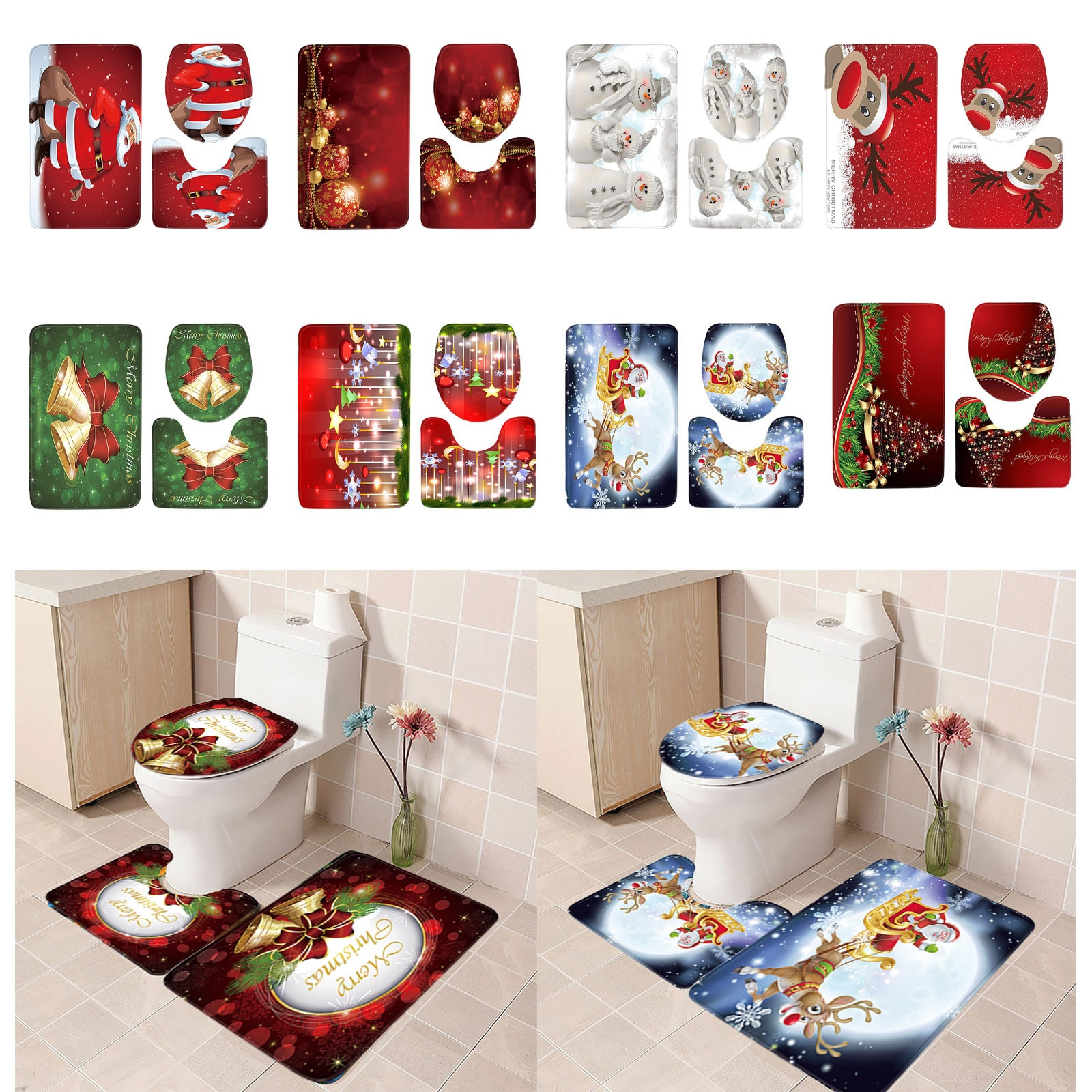 3pcs Christmas Day Non-Slip Bath Mat Bathroom Kitchen Carpet Doormats Decor коврик входной двери коврик для ванной alfombra
