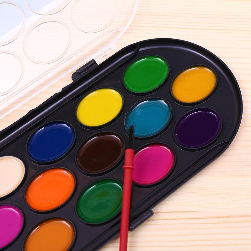 16 Colors Solid Watercolor Paints Paint Box with Paintbrush Professional Bright Color Portable Sketch watercolor palette enlarge