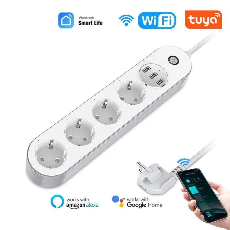 واي فاي الذكية قطاع الطاقة عرام حامي 4 الاتحاد الأوروبي التوصيل منافذ مأخذ كهربائي مع USB App صوت التحكم عن بعد بواسطة أليكسا جوجل المنزل