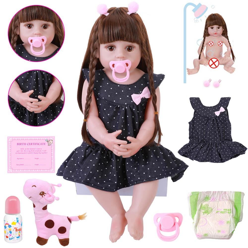NEW 56CM Reborn Baby Toddler Doll Realistic Adorable Babies DOLL Very Soft Full Body Silicone Dolls Bath Toy Bonecas Xmas Gift