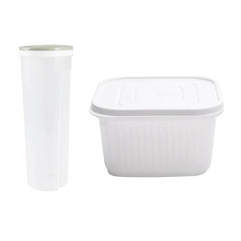 Caja de Pasta de fideos de grano de Cereal de grano de arroz verde claro y verde cebolla Crisper cocina jengibre ajo caja cuadrada de almacenamiento blanco