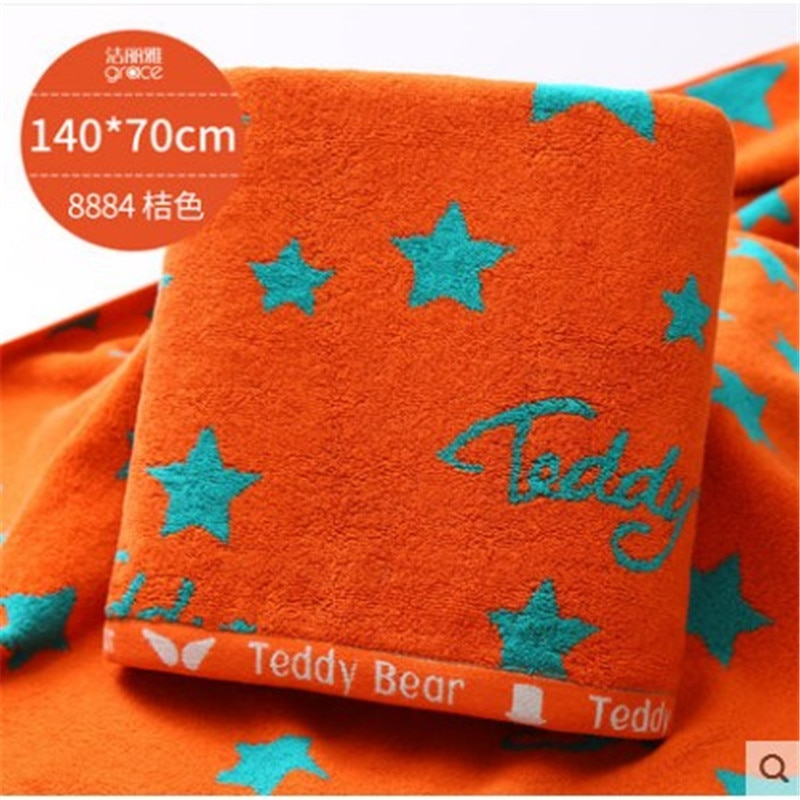 GRACE منشفة استحمام قطنية نقية ، 140x70 سنتيمتر ، 400 جرام ، على الوجهين نمط نجمة اللون ، حلية أنيقة ، لينة و الجلد ودية ، منشفة الشاطئ