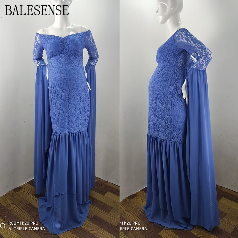 Lace Chiffon Long Sleeve Maternity Photography Dresses Pregnant Elegant Off Shoulder Maxi Gown Pregnancy Dress for Photo Shoot enlarge