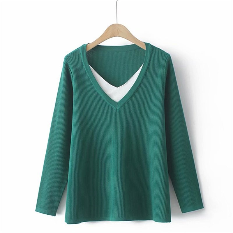 New Autumn Winter Plus Size Knit Tops For Women Large Pullover Long Sleeve Slim Elastic Green V-neck Sweater 3XL 4XL 5XL 6XL