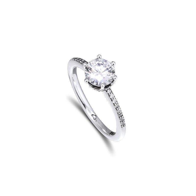 Claro brillante corona anillo plata esterlina joyería anillos para mujer fiesta moda mujer anillos joyería fabricación envío gratis