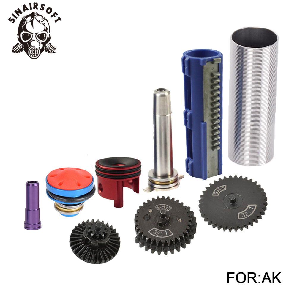 32:1 Gear Nozzle Cylinder Spring Guide 14 Teeth Piston Kit Fit Airsoft AK MP5 M4 M16 G36 For Paintball hunting Accessories