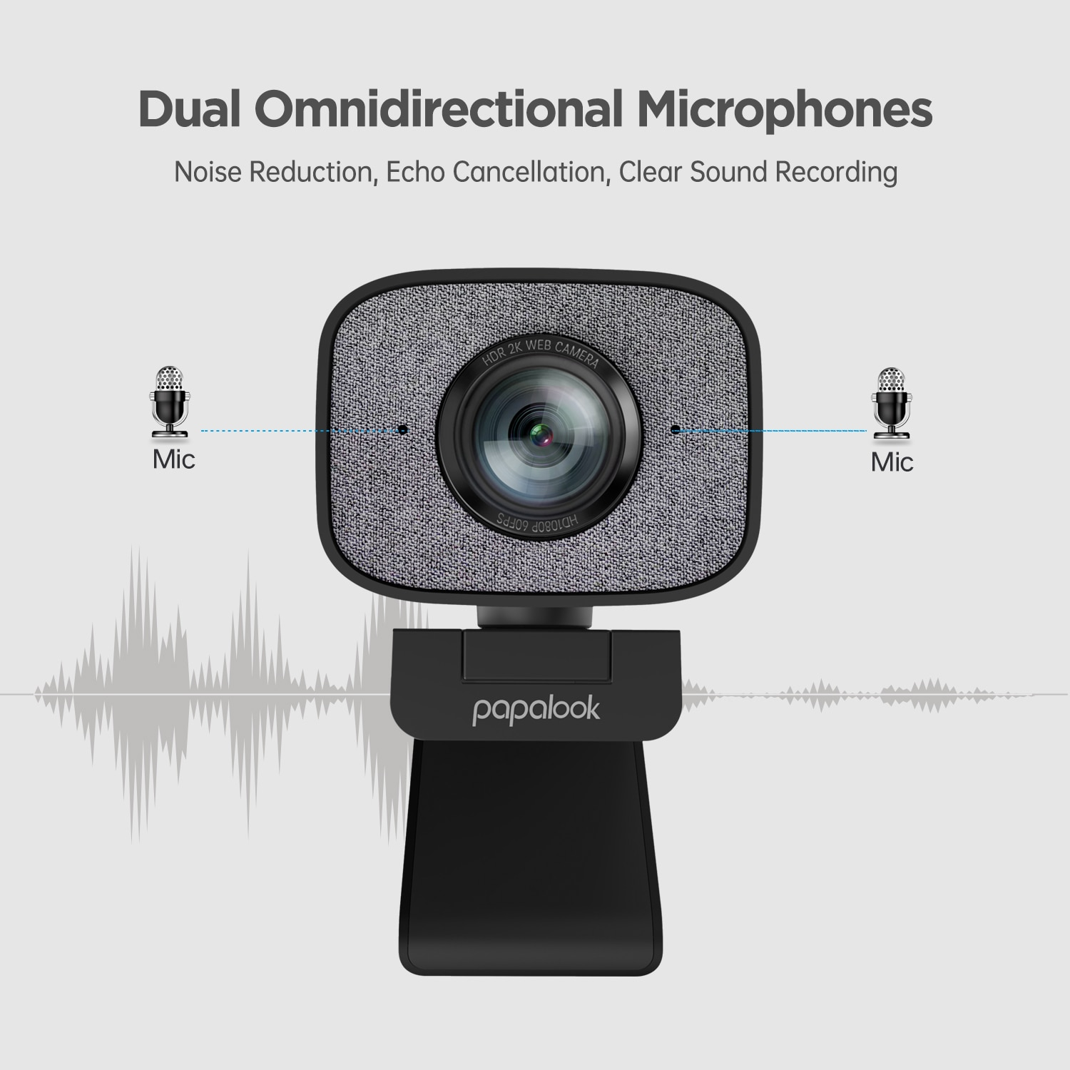 60FPS 1080P Webcam PC, PAPALOOK PA930 2K HDR Streaming Live Web Camera with Dual Stereo Mic 90Degree Angle for OBS/SKYPE/ZOOM