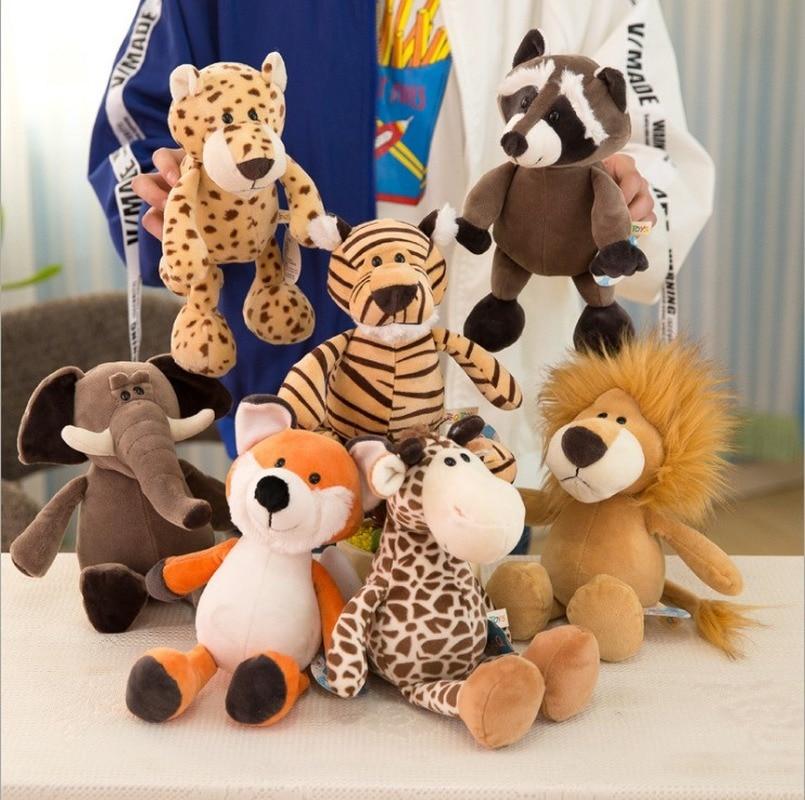 25/35cm Popular Forest Animals Stuffed Doll Plush Kids Giraffe Elephant Monkey Lion Tiger Animal Toys Birthday Gifts