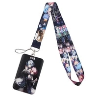 pf437 dongmanli japanese anime icons key lanyard car keychain personalise id card pass gym mobile key ring badge holder jewelry
