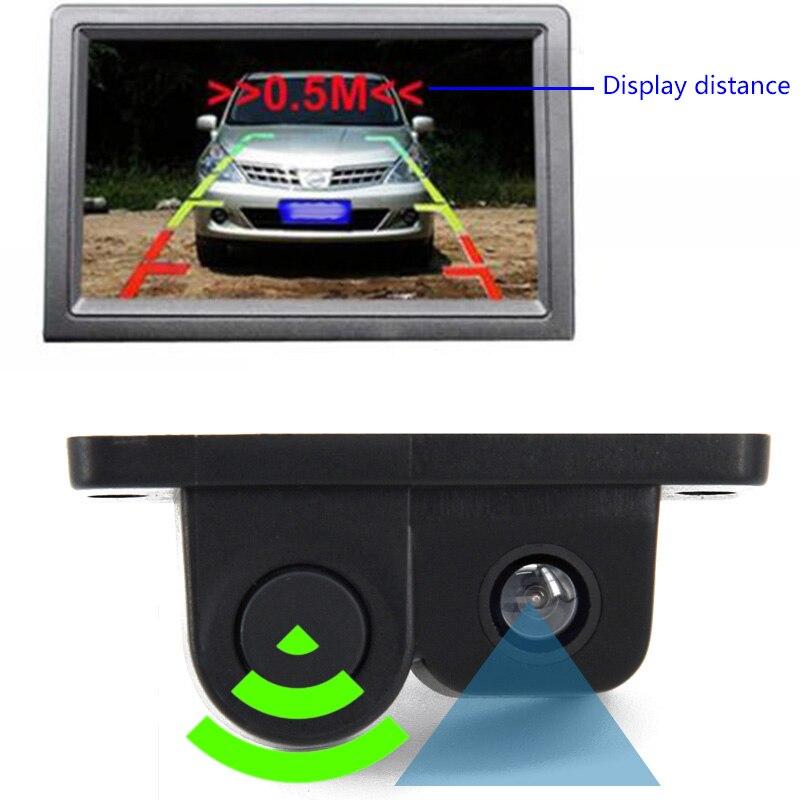2 en 1 LCD coche SUV aparcamiento inverso PC3089 Sensor coche vista trasera cámara de respaldo NTSC/PAL con 6m Cable de Video Cable de alimentación de 1,5 m