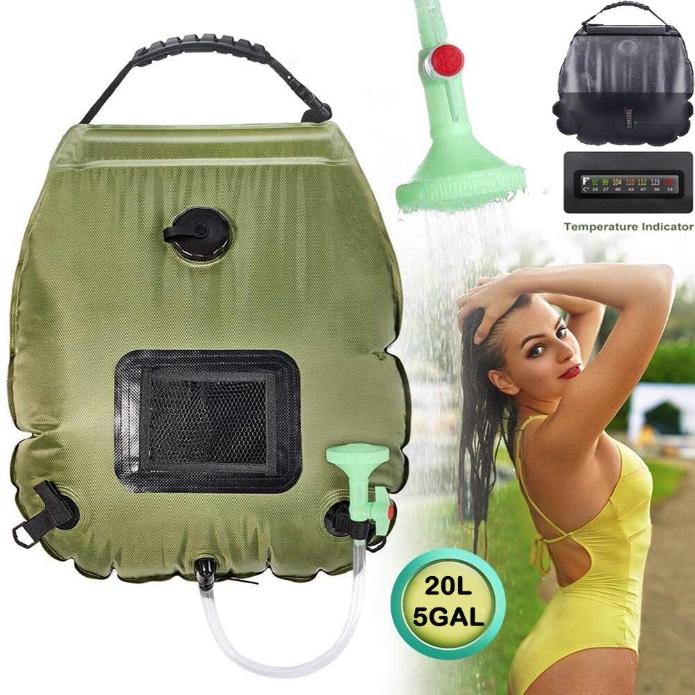 Bolsa de ducha Solar para exteriores, bolsa de agua para ducha de senderismo, bolsa de agua para Camping con calefacción portátil de 20L con manguera intercambiable, cabezal de ducha