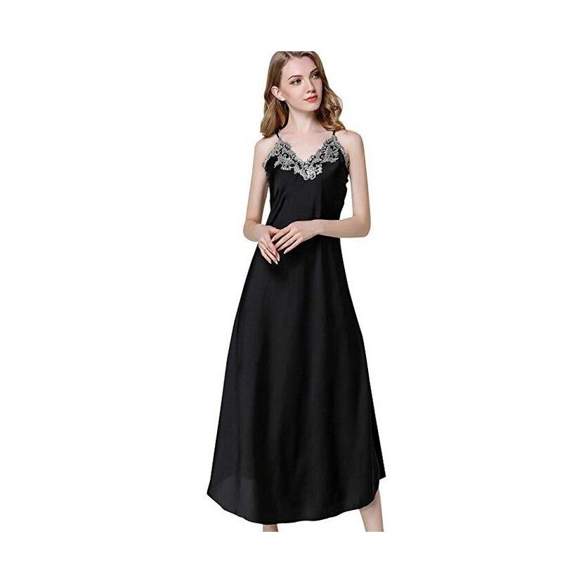 Women's  Sexy Nightgown V-Neck  Ladies Sleeveless Acrylic Sleep Dress Spaghetti Strap Loungewear Sleep Skirt