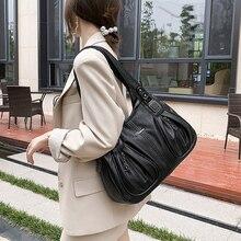 Hobo-sacs à main Vintage en cuir noir pour femmes, sacoches Simple fourre-tout, sacoche de qualité femme couleur unie