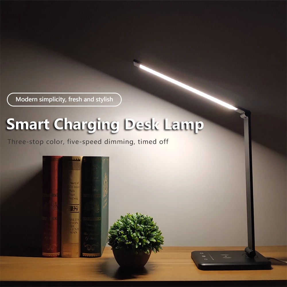 Dimmable Desk Lamp Table Lamps,with 5 Color Stepless,Foldable USB Chargeable Eye Protection Reading Light Study Lamp 2000mah