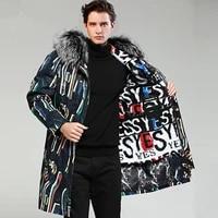real fur coat men rex rabbit fur coat korean fox fur collar winter jacket men real fur parka streetwear casaco 3678 yy1154