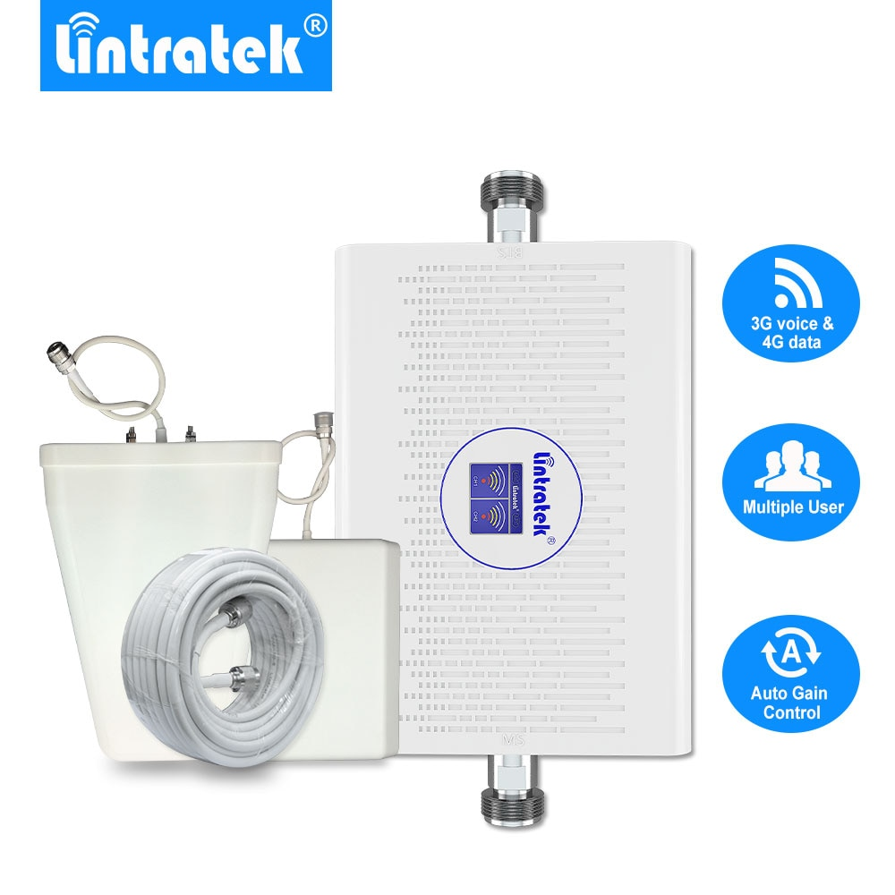 Lintratek nuevo 70dB 3G 4G Amplificador de señal móvil LTE 1800mhz UMTS 2100mhz AGC/ALC de banda Dual repetidor de señal de B3 + B1 3G amplificador