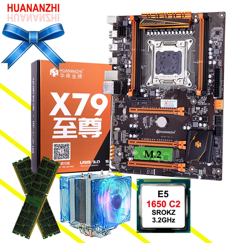 Sprzęt komputerowy DIY HUANANZHI Deluxe X79 płyta główna M.2 procesor intel xeon E5 1650 C2 3.2GHz z chłodnicą RAM 16G (2*8G) REG ECC