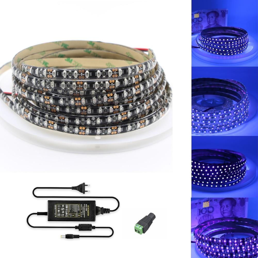 Tira de luces Led UV de 1m y 10m, luz ultravioleta negra SMD 3528 120leds/m, cinta LED, lámpara Flexible púrpura + adaptador de corriente de 12V