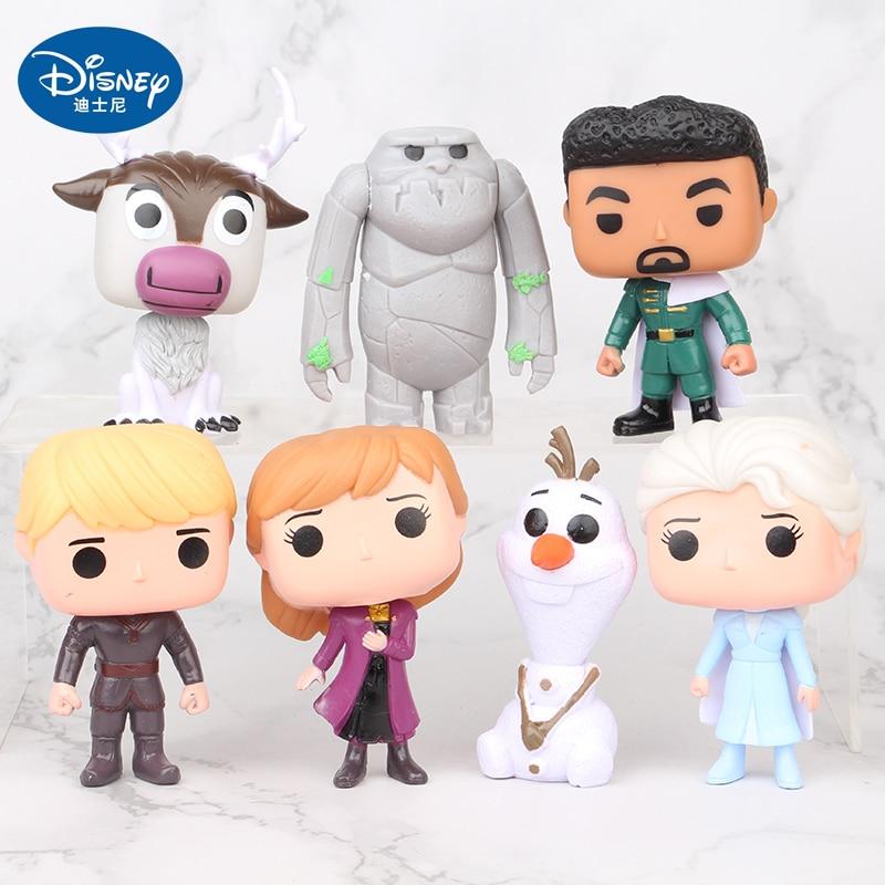 7pcs/set Disney Frozen Princess Anna Elsa Snowman Olaf Q Version Cute Action-Figures Model Creative Decoration Kid Gifts недорого