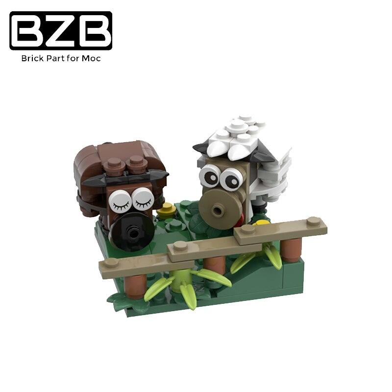 Настольное украшение BZB MOC с животными, мини-конструктор в виде овцы, детали «сделай сам» для милых сельскохозяйственных животных, подарок н...