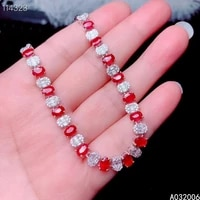 kjjeaxcmy fine jewelry 925 sterling silver inlaid natural ruby bracelet delicate female classic bracelet support testing