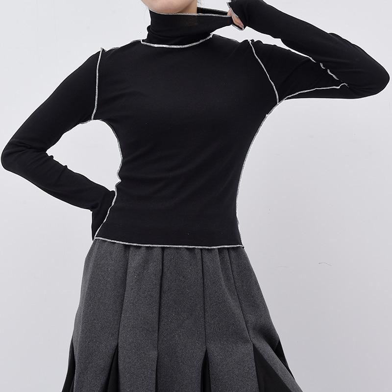 [EAM]2020New Frühling Herbst Hohe Kragen Langarm Einfarbig Schwarz Reffles Split Joint Lose T-shirt Frauen Mode flut JE155
