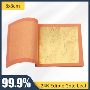 25 PCS  Per Booklet  Pure 24k Edible Gold Leaf Sheet Foil for Decoration Cake Ice Cream Coffee Wine Eatable Genuine Gold Leaf