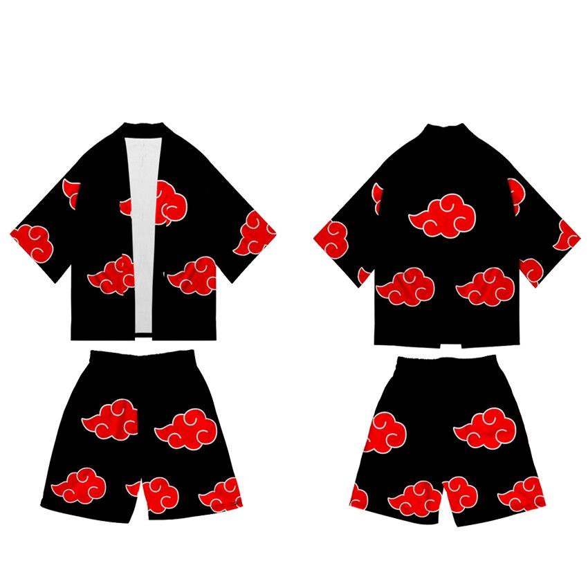 Conjunto de 2 piezas de trajes de Cosplay de Naruto, Kimono para hombres, chaqueta Yukata Haori, Top Shorts, trajes, ropa Casual Uzumaki Akatsuki