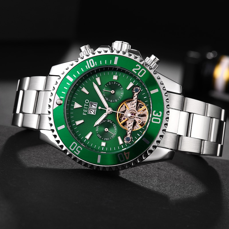 IBSO FEITO New Men's Luxury Automatic Mechanical Wrist Watch Luminous Display Stainless Steel Waterproof Watch Relogio Masculino