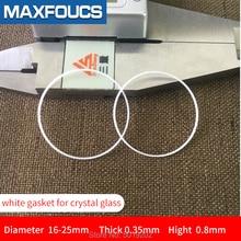Joint blanc en plastique pour verre cristal diamètre interne 16-25mm épaisseur 0.35mm hihg 0.8mm pièces de montre accessoires de montre, 1 pièces