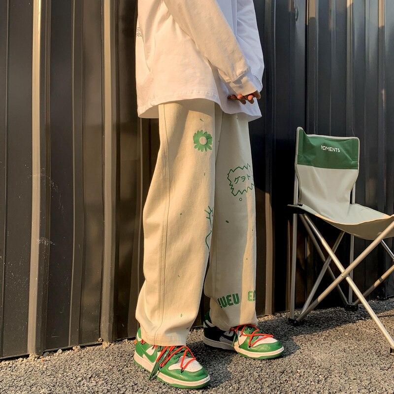 2021 свободные прямые широкие брюки Мешковатые штаны мужские тренд ruffian красивый универсальный Оригинал vibe штаны Японская уличная одежда