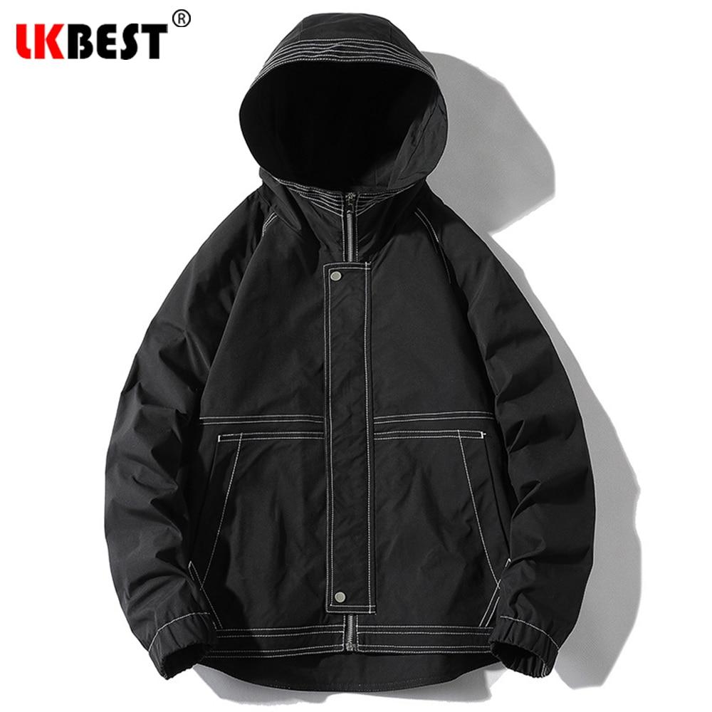 Демисезонная Мужская спортивная куртка с капюшоном, модная мужская куртка, однотонный топ