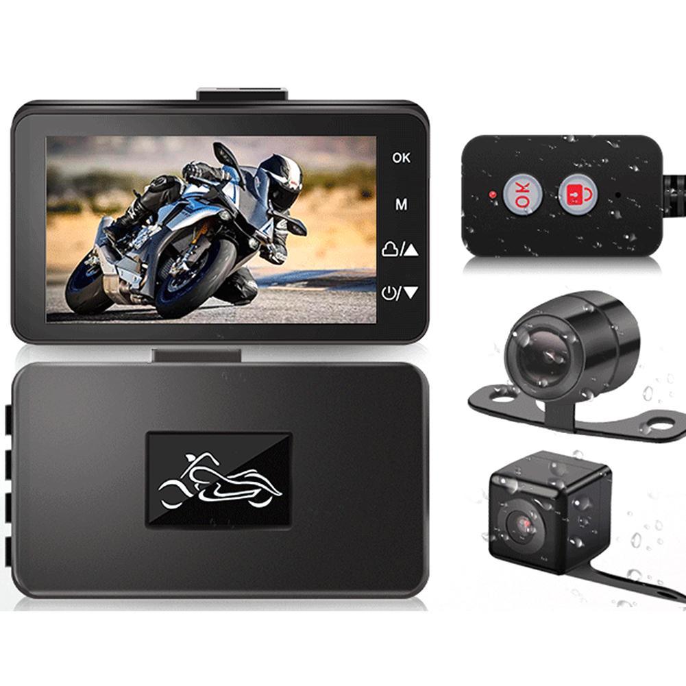 1080P HD мотоцикл с двумя Камера видеорегистратор Даш Cam Автомобильная Водонепроницаемый Ночное видение спереди/задний объектив 3 дюймов Экран...
