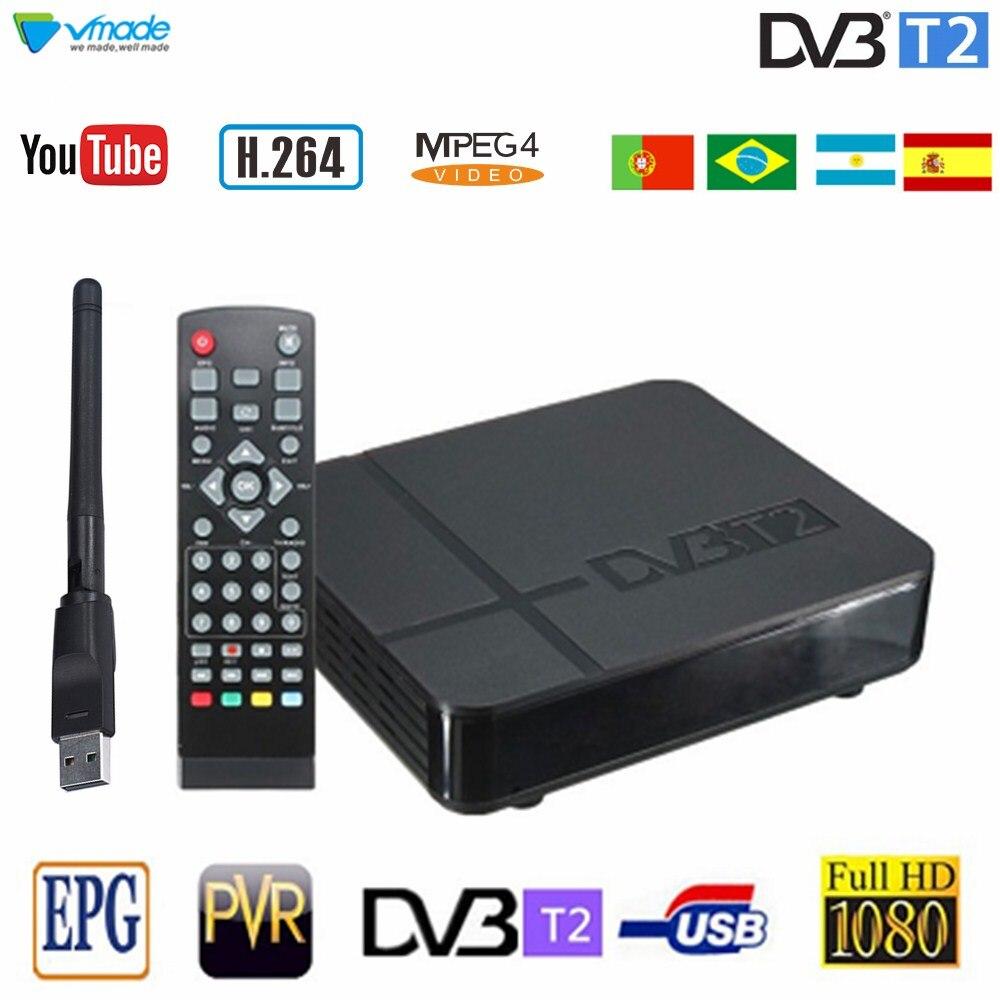 Receptor Vmade de ancho de banda estándar 1080P dvb-t2 receptor Digital terrestre H.264 MPEG-4 DVB T2