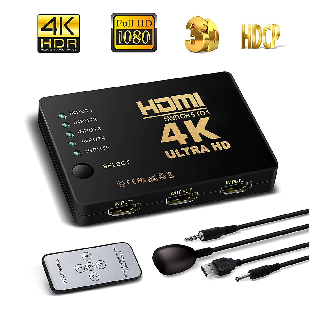 4K HD HDMI Splitter Cable 1080P 5into Port For HDTV DVD TV XBOX PS3/4 Z2 LAPTOP Mini Switcher With IR Remote Controller Selector